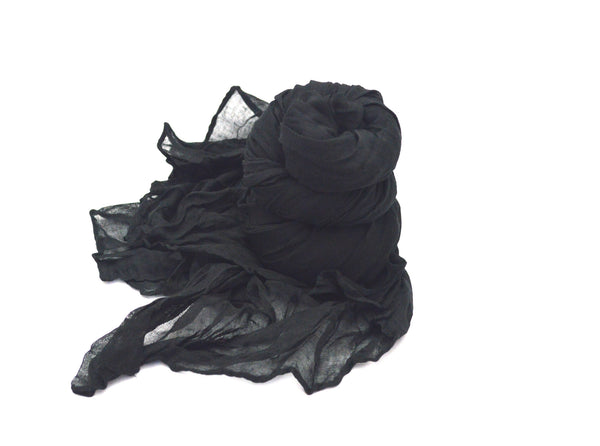 Black Wrinkle Vegan Scarf