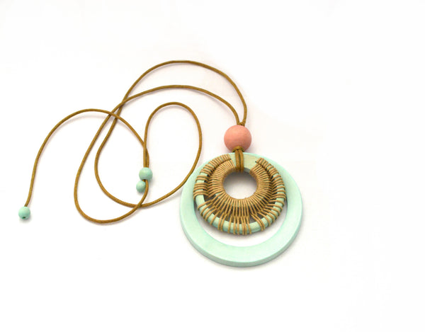 Bohemian Round Rings Mint Vegan Necklace