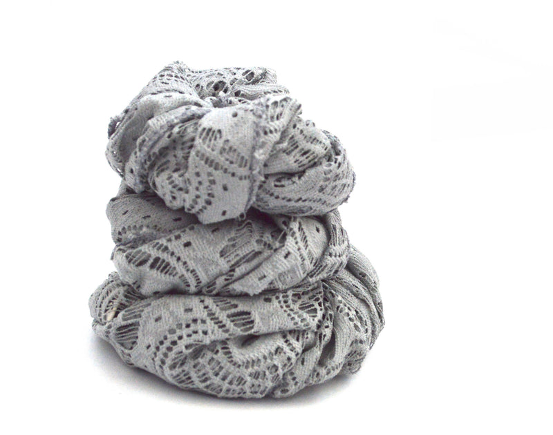 Grey Infinity Lace Vegan Scarf