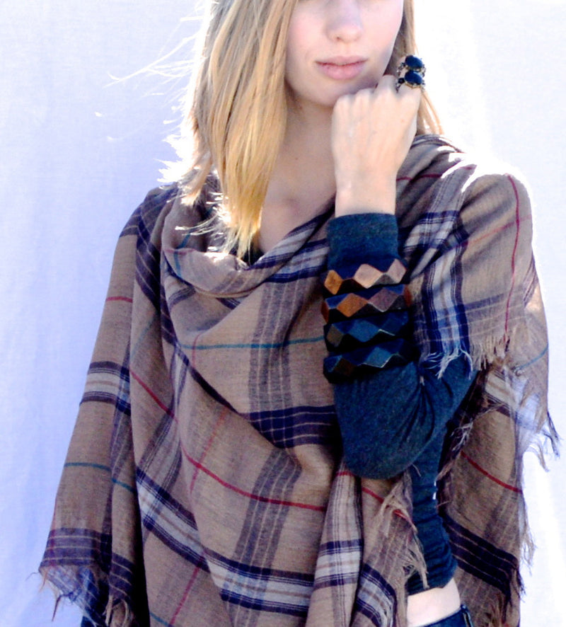 Native Plaid Vegan Shawl