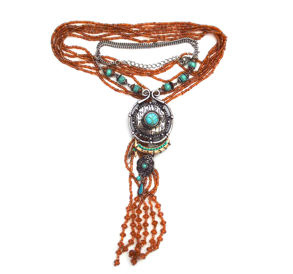 Bohemian Mocha Earth Tone Infinity Vegan Scarf and Ecru Metal Necklace