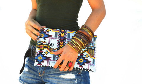 Belize Aztec Vegan Clutch Purse