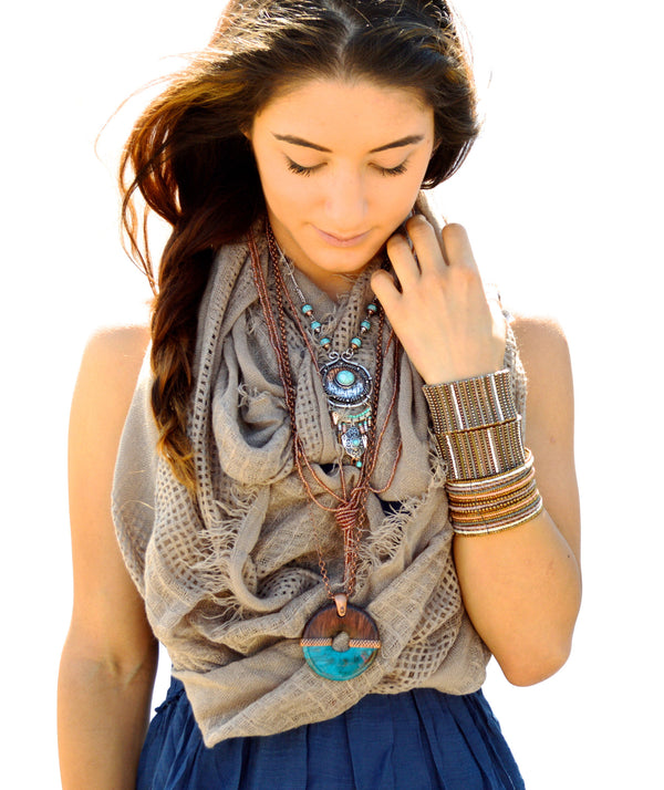 Bohemian Mocha Earth Tone Infinity Vegan Scarf and Ecru Metal Necklace- Style