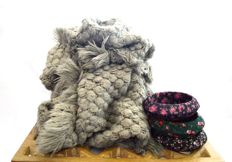 Gray Faux Fur Infinity Vegan Scarf and Hippie Flower Child Cloth Bangles