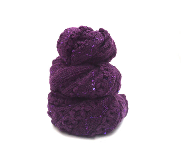 Plum Apple Loose Knit Infinity Vegan Scarf