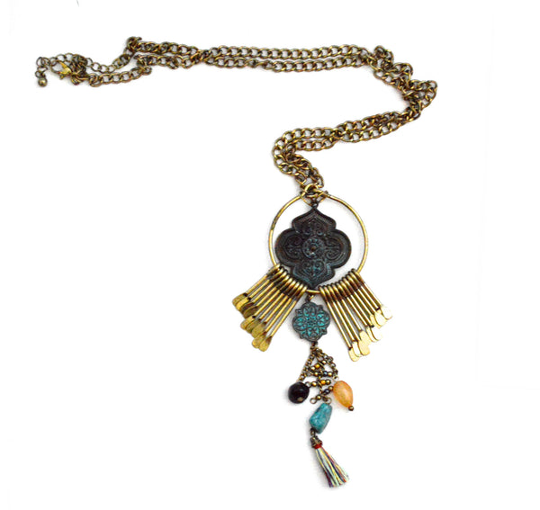 Bohemian Zqaira Tarnished  Vegan Necklace