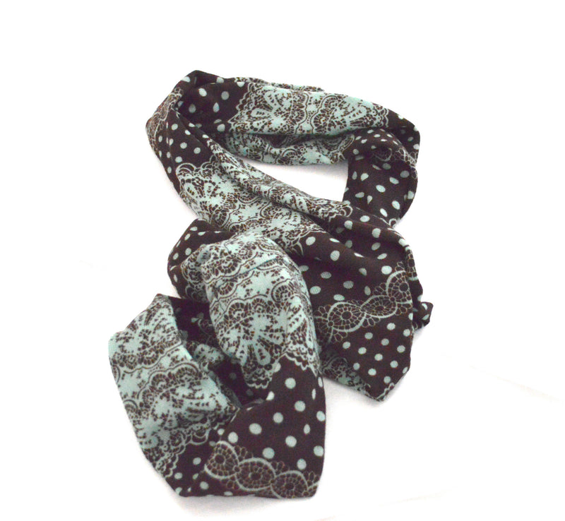 Bohemian Polkadot  Infinity Vegan Scarf and Rouge Beaded Bracelet