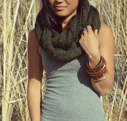 Classic Deep Green Vegan Knit Scarf-Style