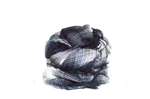 Black Grey and Blue Plaid Unisex Vegan Scarf