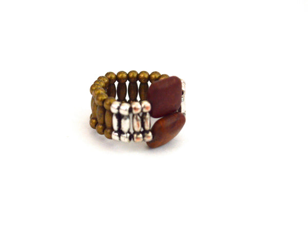 Va Delon Two Stone Bohemian Vegan Stretch Ring