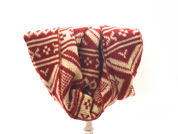 Red Native Bohemian Infinity Knit Vegan Scarf