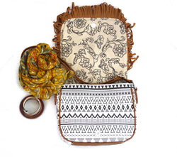 Brown Sunray Dakota Bohemian Fringe Vegan Purse