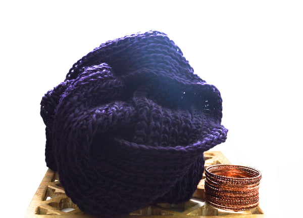 Purple Knit Vegan Scarf and Red Verlin Vegan Bangles
