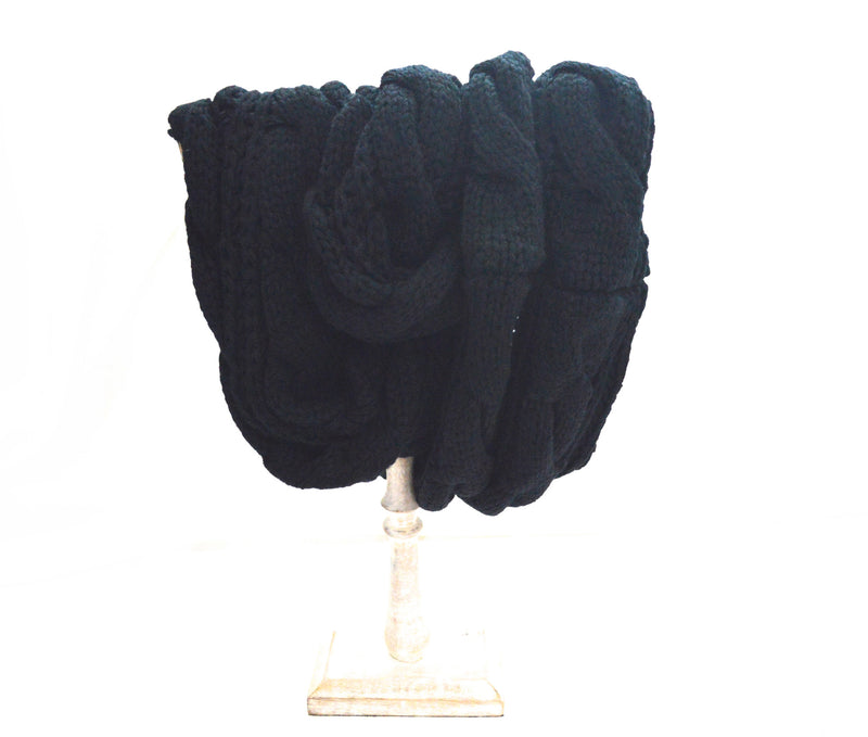 Black Infinity Knit  Vegan Scarf