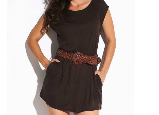 Lydia Chocolate Brown Vegan Sweater Dress