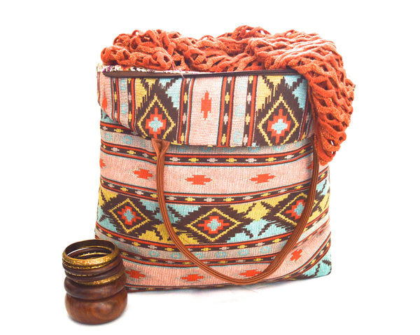 Ancient Floral Wood Bangles And Nova Canyon Oversize Vegan Tote