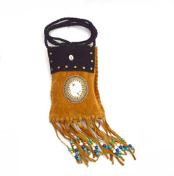 Bohemian Milo Fringe Cross Body Vegan Bag and Black Bamboo Nut Vegan Bracelet