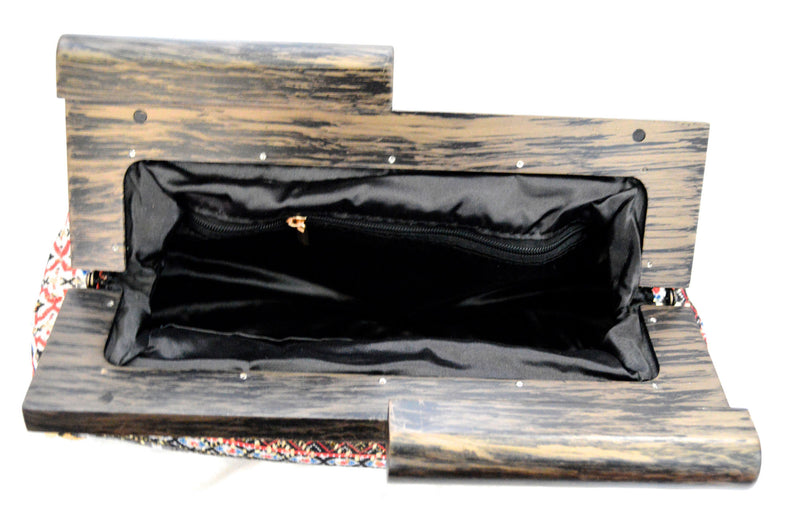 Sandy Moon Wood Bohemian Vegan Clutch