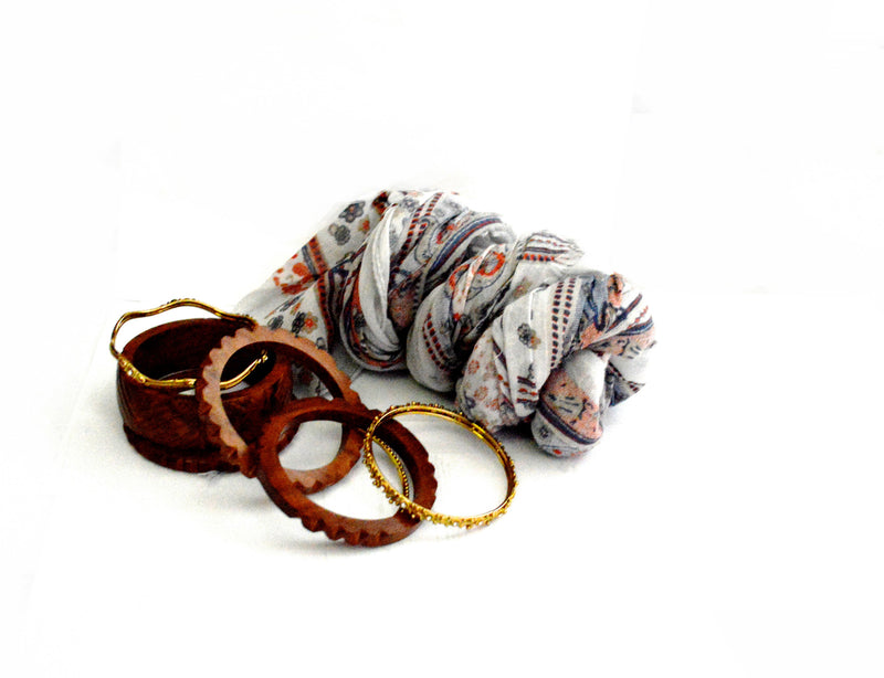 June Star Bohemian Vegan Scarf and OCarved Wood Vegan Bangles