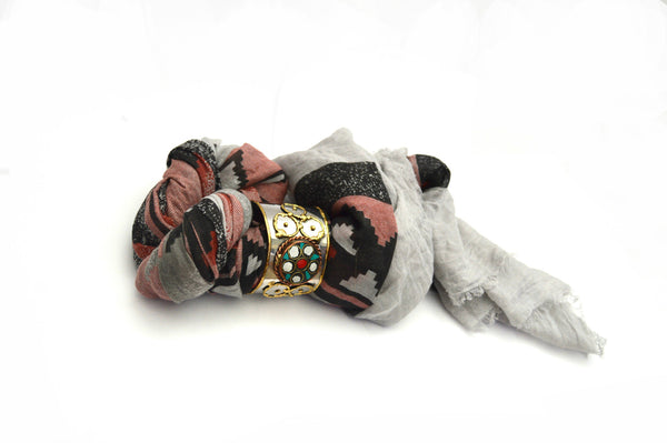 Grey Frayed Edge Bohemian Vegan Scarf and Tribal Cuff