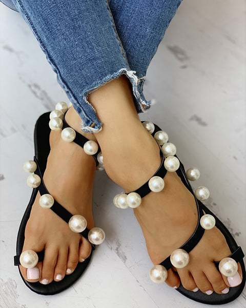 """Patricia"" Beaded Design Toe Ring Casual Sandals"
