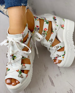 """Flower Power"" Lace-Up Cut Out Wedges"