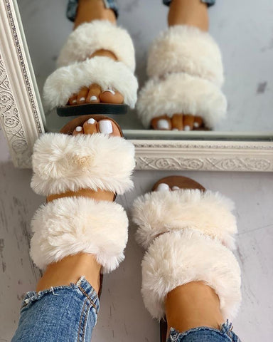 """Pardon Me"" Fluffy Design Open Toe Flat Sandals - Shoe Harbor"