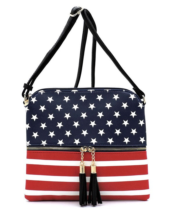 """Let Freedom Ring"" US Flag Tassel Zipper Crossbody Bag"