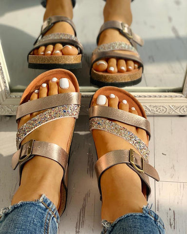 """Strapped & Dangerous"" Glitter Multi-strap Open Toe Flat Sandals - Shoe Harbor"
