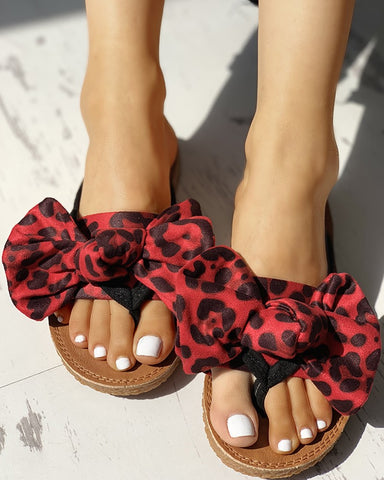 Leopard Bowknot Design Flat Sandals - Shoe Harbor