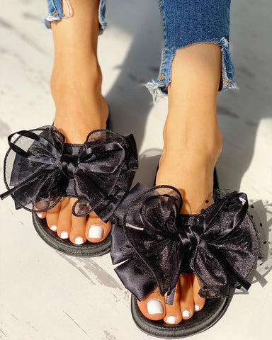 """Bows & Ribbons"" Mesh Bowknot Design Open Toe Sandals - Shoe Harbor"