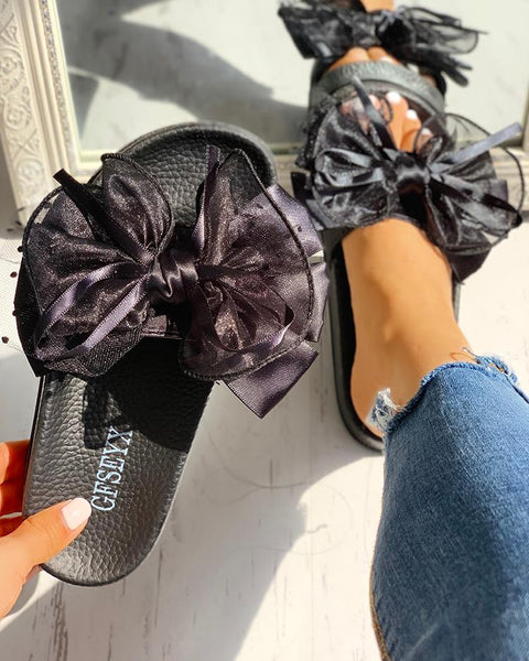 """Lazy Daze"" Bowknot Mesh Design Open Toe Sandals - Shoe Harbor"