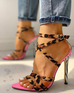 """Wild Thoughts"" Multi-Strap Animal Print Heeled Sandals - Shoe Harbor"
