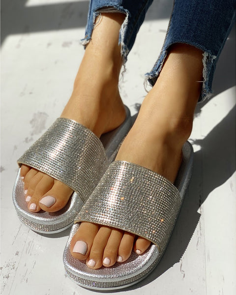 Studded Open Toe Design Flat Sandals - Shoe Harbor