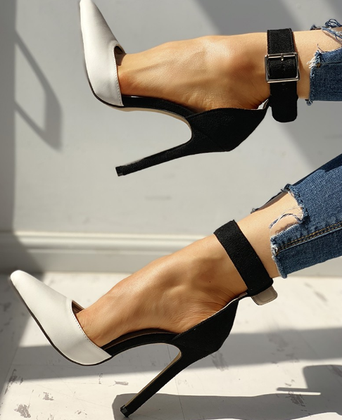 Pointed Toe Ankle Strap Heels - Shoe Harbor