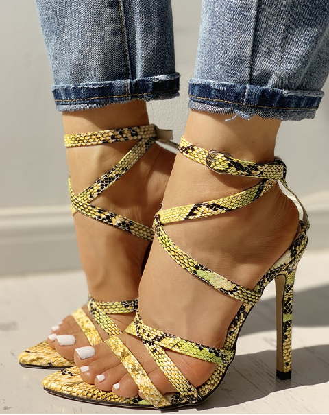 Snake-skin Criss-Cross Multi-strap Heel - Shoe Harbor
