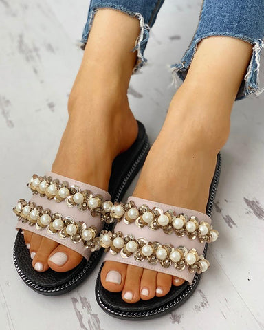 """Pearly"" Open Toe Beaded Flat Sandals"