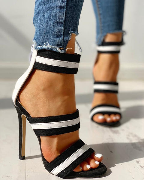 """Mission Complete"" Black & White Stripe Open Toe Thin Heels - Shoe Harbor"