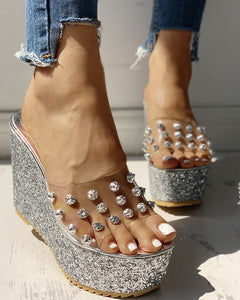 Transparent Rivet Detail Silver Platform Wedge Sandals - Shoe Harbor