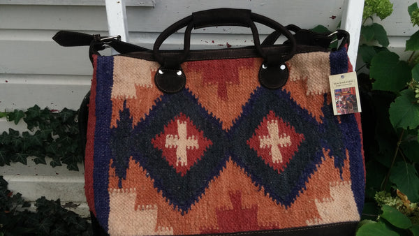 Aztec Southwest Wool Cross Weekender Bag