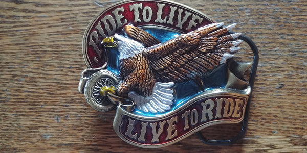 Ride to Live, Live to Ride American Eagle Biker Belt Buckle