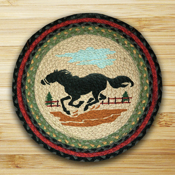 Running Mustang Horse Jute Chair Pad Set of 2