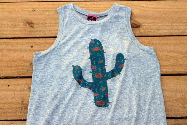 Floral Blooming Cactus and Hummingbirds Tank Top