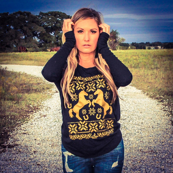 Holiday Horses Long Sleeved Flowy Tee