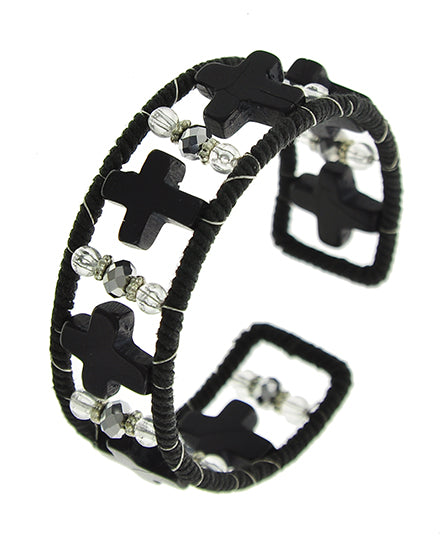 Black and Clear Crystal Cross Cuff Bracelet