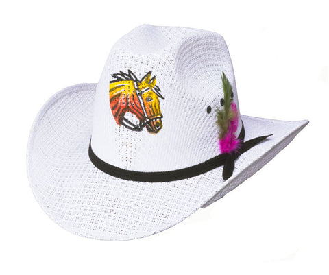 Cute Horse Horsey Straw Cowboy Hat for Kids