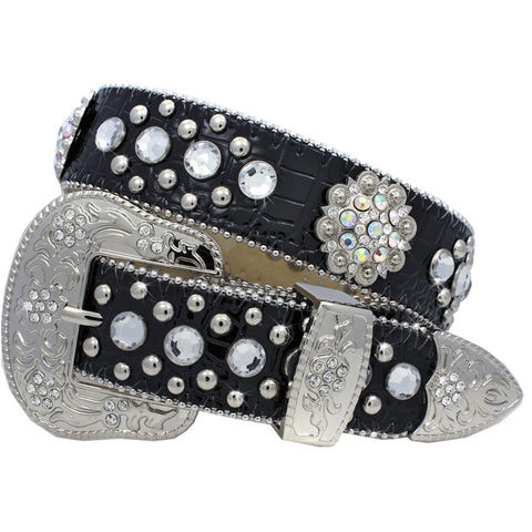 Black Leather Western Belt with Conchos and Rhinestones