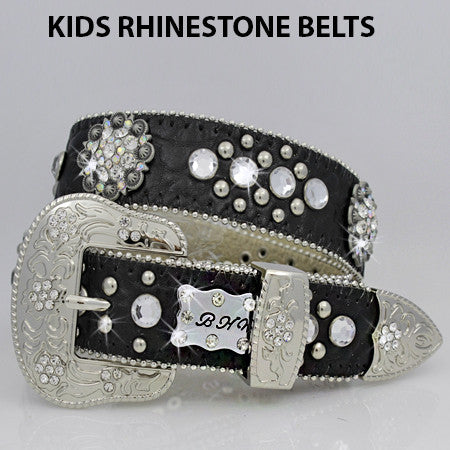 Kids Black Leather Western Belt with Conchos and Rhinestones