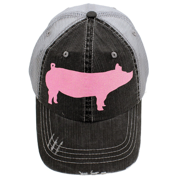 New Sparkly Piggly Wiggly Hat Pig Baseball Trucker Cap Pink or Silver