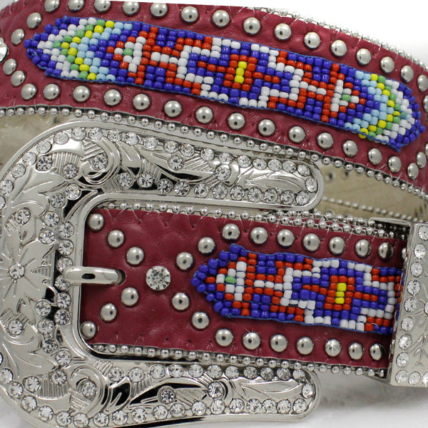 Southwest Aztec Beaded Leather Belt with Rhinestones & Silver Studs
